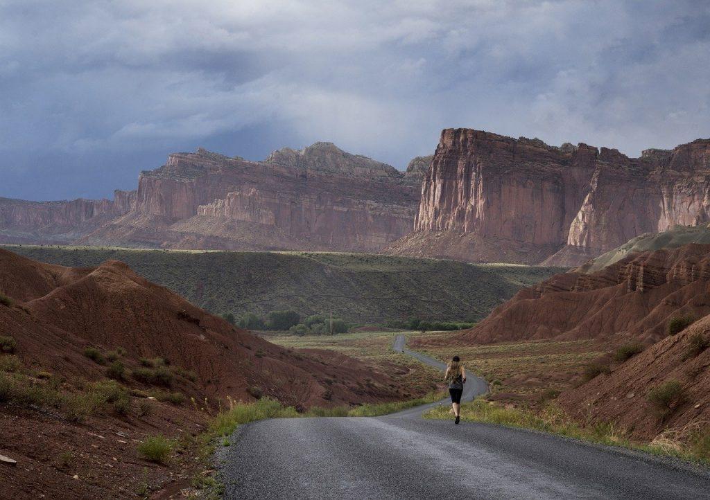jogger, landscape, scenic